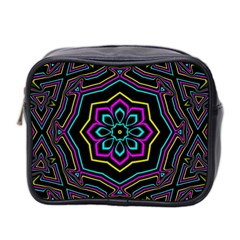 Cyan Yellow Magenta Kaleidoscope Mini Toiletries Bag 2 Side by Simbadda