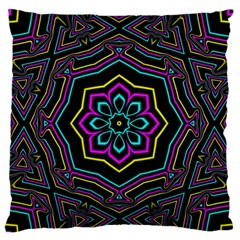 Cyan Yellow Magenta Kaleidoscope Standard Flano Cushion Case (two Sides) by Simbadda