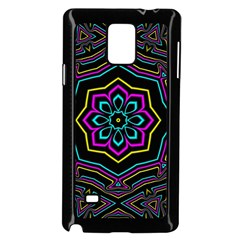 Cyan Yellow Magenta Kaleidoscope Samsung Galaxy Note 4 Case (black) by Simbadda