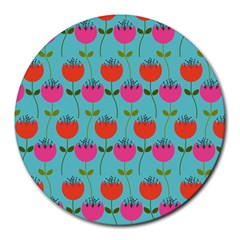 Tulips Floral Background Pattern Round Mousepads by Simbadda