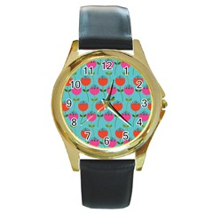 Tulips Floral Background Pattern Round Gold Metal Watch by Simbadda