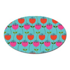 Tulips Floral Background Pattern Oval Magnet by Simbadda