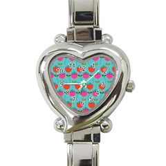 Tulips Floral Background Pattern Heart Italian Charm Watch by Simbadda