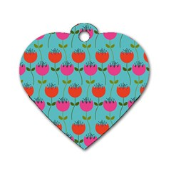 Tulips Floral Background Pattern Dog Tag Heart (two Sides) by Simbadda