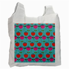 Tulips Floral Background Pattern Recycle Bag (two Side)  by Simbadda