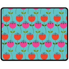 Tulips Floral Background Pattern Fleece Blanket (medium)  by Simbadda