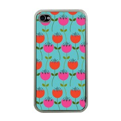 Tulips Floral Background Pattern Apple Iphone 4 Case (clear) by Simbadda