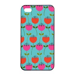 Tulips Floral Background Pattern Apple Iphone 4/4s Seamless Case (black) by Simbadda