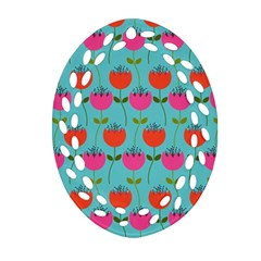 Tulips Floral Background Pattern Ornament (oval Filigree) by Simbadda