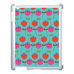 Tulips Floral Background Pattern Apple Ipad 3/4 Case (white) by Simbadda