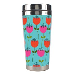 Tulips Floral Background Pattern Stainless Steel Travel Tumblers by Simbadda