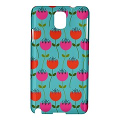 Tulips Floral Background Pattern Samsung Galaxy Note 3 N9005 Hardshell Case by Simbadda