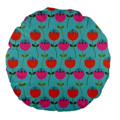 Tulips Floral Background Pattern Large 18  Premium Flano Round Cushions by Simbadda