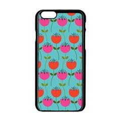 Tulips Floral Background Pattern Apple Iphone 6/6s Black Enamel Case by Simbadda
