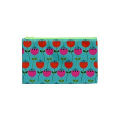 Tulips Floral Background Pattern Cosmetic Bag (xs) by Simbadda