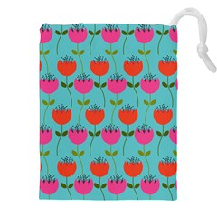 Tulips Floral Background Pattern Drawstring Pouches (xxl) by Simbadda