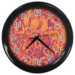 Floral Pattern Wall Clocks (black) by Valentinaart