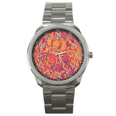 Floral Pattern Sport Metal Watch by Valentinaart
