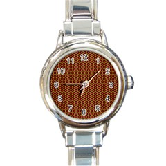 Lunares Pattern Circle Abstract Pattern Background Round Italian Charm Watch by Simbadda