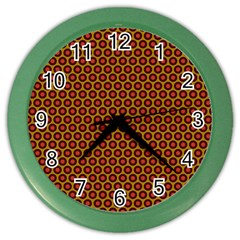 Lunares Pattern Circle Abstract Pattern Background Color Wall Clocks by Simbadda