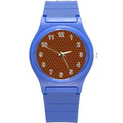 Lunares Pattern Circle Abstract Pattern Background Round Plastic Sport Watch (s) by Simbadda