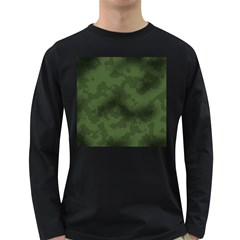 Vintage Camouflage Military Swatch Old Army Background Long Sleeve Dark T Shirts by Simbadda
