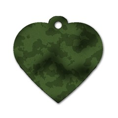 Vintage Camouflage Military Swatch Old Army Background Dog Tag Heart (two Sides) by Simbadda