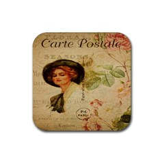 Lady On Vintage Postcard Vintage Floral French Postcard With Face Of Glamorous Woman Illustration Rubber Square Coaster (4 Pack)  by Simbadda