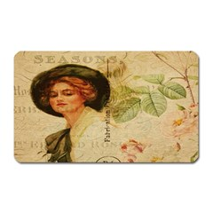 Lady On Vintage Postcard Vintage Floral French Postcard With Face Of Glamorous Woman Illustration Magnet (rectangular) by Simbadda
