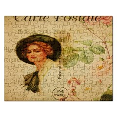 Lady On Vintage Postcard Vintage Floral French Postcard With Face Of Glamorous Woman Illustration Rectangular Jigsaw Puzzl by Simbadda