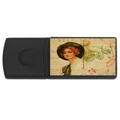 Lady On Vintage Postcard Vintage Floral French Postcard With Face Of Glamorous Woman Illustration Usb Flash Drive Rectangular (4 Gb) by Simbadda