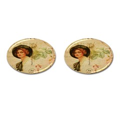Lady On Vintage Postcard Vintage Floral French Postcard With Face Of Glamorous Woman Illustration Cufflinks (oval) by Simbadda