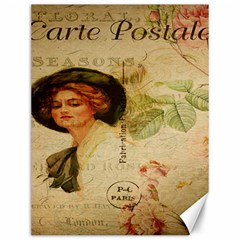 Lady On Vintage Postcard Vintage Floral French Postcard With Face Of Glamorous Woman Illustration Canvas 12  X 16   by Simbadda
