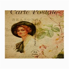 Lady On Vintage Postcard Vintage Floral French Postcard With Face Of Glamorous Woman Illustration Small Glasses Cloth (2 Side) by Simbadda