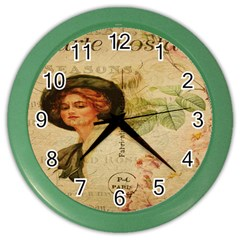 Lady On Vintage Postcard Vintage Floral French Postcard With Face Of Glamorous Woman Illustration Color Wall Clocks by Simbadda