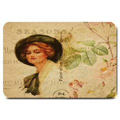 Lady On Vintage Postcard Vintage Floral French Postcard With Face Of Glamorous Woman Illustration Large Doormat  by Simbadda