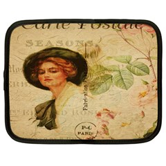 Lady On Vintage Postcard Vintage Floral French Postcard With Face Of Glamorous Woman Illustration Netbook Case (xxl)  by Simbadda