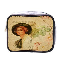 Lady On Vintage Postcard Vintage Floral French Postcard With Face Of Glamorous Woman Illustration Mini Toiletries Bags by Simbadda