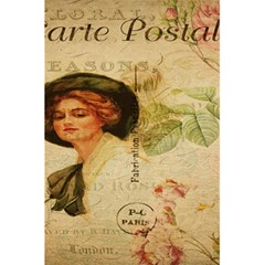Lady On Vintage Postcard Vintage Floral French Postcard With Face Of Glamorous Woman Illustration 5 5  X 8 5  Notebooks by Simbadda