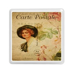 Lady On Vintage Postcard Vintage Floral French Postcard With Face Of Glamorous Woman Illustration Memory Card Reader (square)  by Simbadda