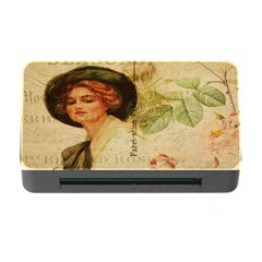 Lady On Vintage Postcard Vintage Floral French Postcard With Face Of Glamorous Woman Illustration Memory Card Reader With Cf by Simbadda