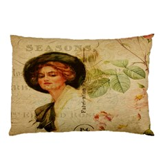 Lady On Vintage Postcard Vintage Floral French Postcard With Face Of Glamorous Woman Illustration Pillow Case (two Sides) by Simbadda