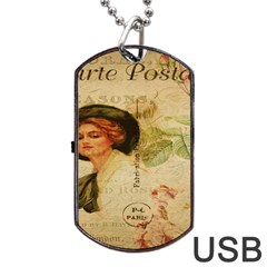 Lady On Vintage Postcard Vintage Floral French Postcard With Face Of Glamorous Woman Illustration Dog Tag Usb Flash (two Sides) by Simbadda