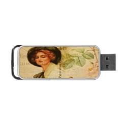 Lady On Vintage Postcard Vintage Floral French Postcard With Face Of Glamorous Woman Illustration Portable Usb Flash (one Side) by Simbadda