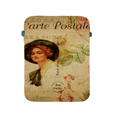 Lady On Vintage Postcard Vintage Floral French Postcard With Face Of Glamorous Woman Illustration Apple Ipad 2/3/4 Protective Soft Cases by Simbadda