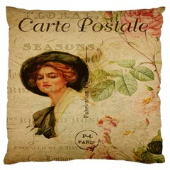 Lady On Vintage Postcard Vintage Floral French Postcard With Face Of Glamorous Woman Illustration Standard Flano Cushion Case (two Sides) by Simbadda