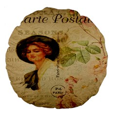 Lady On Vintage Postcard Vintage Floral French Postcard With Face Of Glamorous Woman Illustration Large 18  Premium Flano Round Cushions by Simbadda