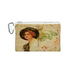 Lady On Vintage Postcard Vintage Floral French Postcard With Face Of Glamorous Woman Illustration Canvas Cosmetic Bag (s) by Simbadda