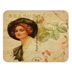 Lady On Vintage Postcard Vintage Floral French Postcard With Face Of Glamorous Woman Illustration Double Sided Flano Blanket (large)  by Simbadda