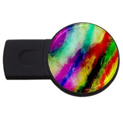 Colorful Abstract Paint Splats Background Usb Flash Drive Round (2 Gb) by Simbadda